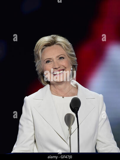 Philadelphia, Pennsylvania, USA. 28th July, 2016. Hillary Clinton, the Democratic Party nominee for President of - Stock-Bilder