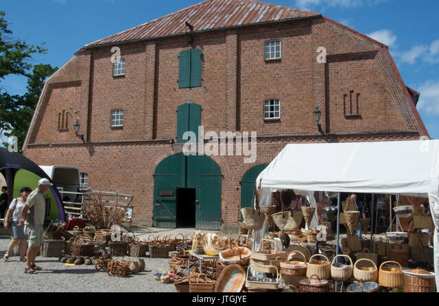 Weekend handicraft and produce market at Gut Goertz estate in Holstein, Germany - Stock Image