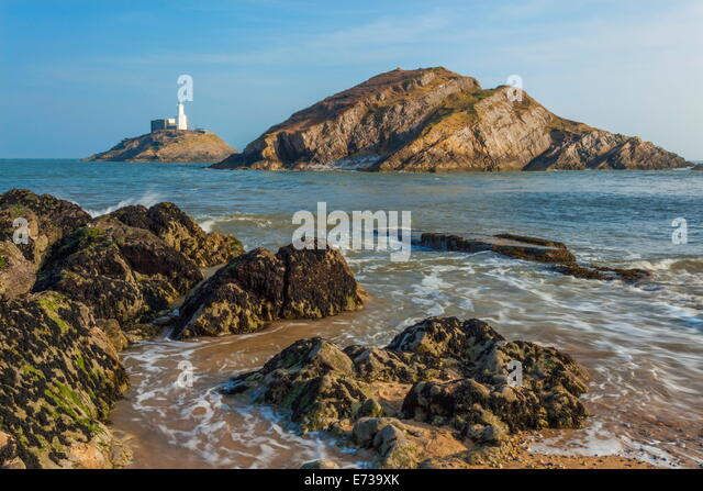 Mumbles Lighthouse, Bracelet Bay, Gower, Swansea, Wales, United Kingdom, Europe - Stock Image