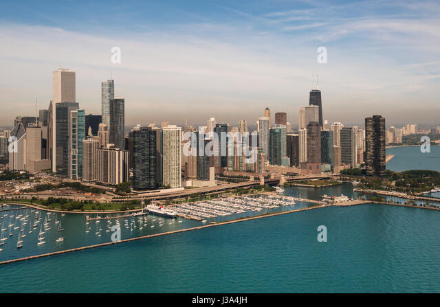 Aerial view of downtown Skyscrapers and marina Chicago USA - Stock Image