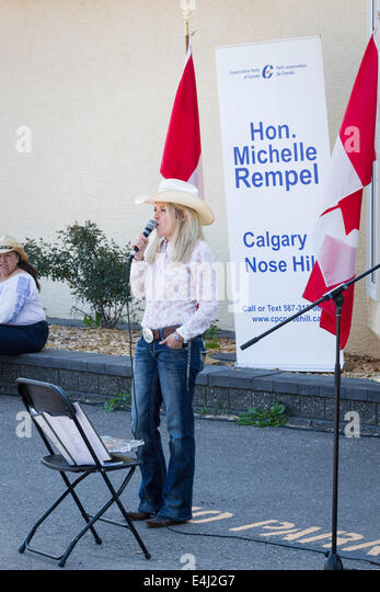 Honourable Michelle Rempel Canadian MP for Calgary Centre-North speaks at her annual Stampede breakfast on July - Stock Image