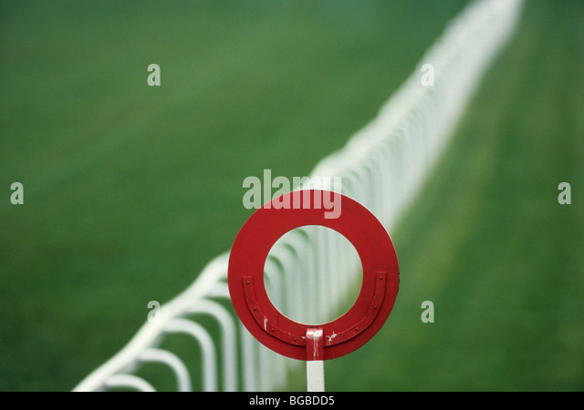 Finish post at a horse race - Stock Image