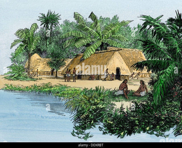 Native village in Panama at the time of Balboa's expedition, early 1500s. - Stock Image