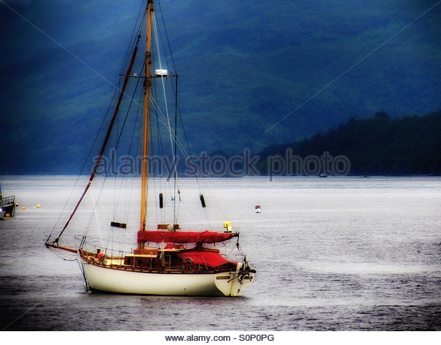 Boat in the water and mist - Stock-Bilder