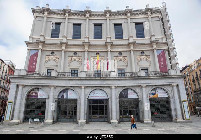 Madrid, Spain - february 26, 2017: Royal theatre, Madrid. Opera house - Stock Image
