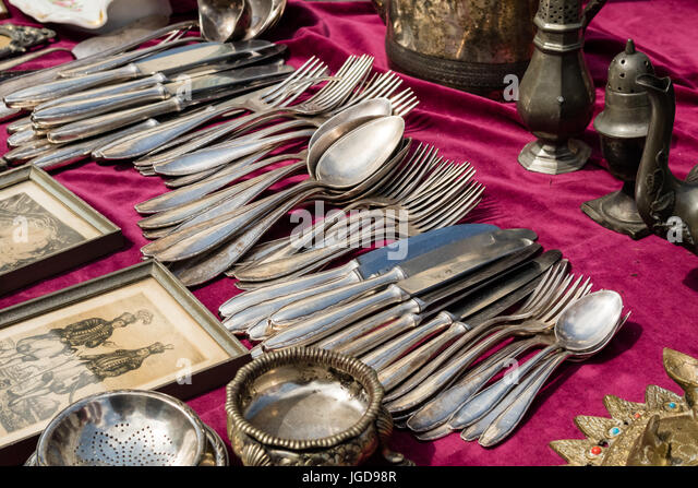 KORNELIMUENSTER, GERMANY, 18th June, 2017 - flatware for sale on the historic fair of Kornelimuenster. - Stock Image