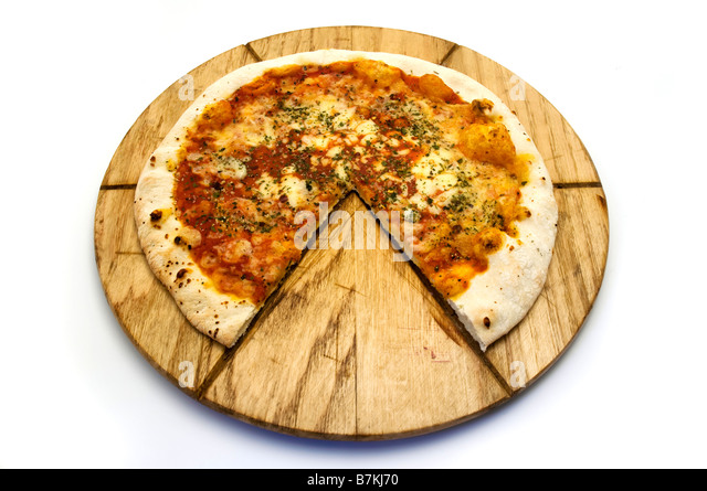 Pizza Margherita on a white background - Stock Image