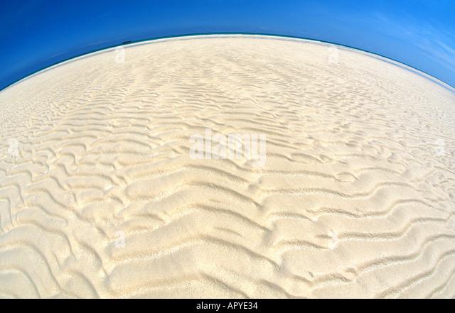 Caribbean Beaches Grand Bahama Island Gold Rock Beach sand ripples Lucaya National Park - Stock Image
