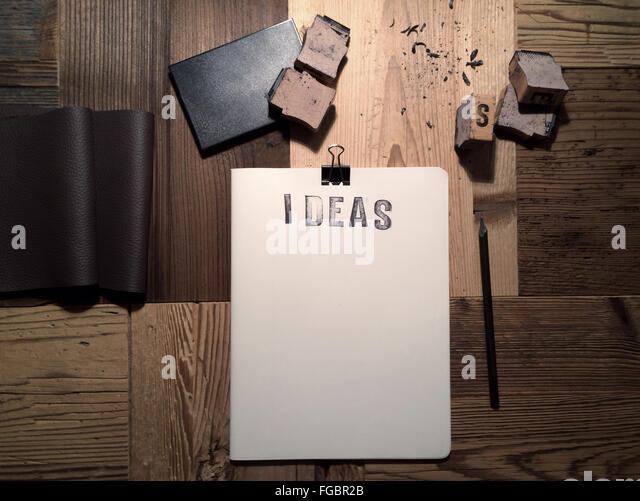Directly Above Shot Of Notebook On Table - Stock Image