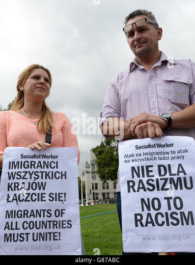 Polish workers protest in London - Stock Image