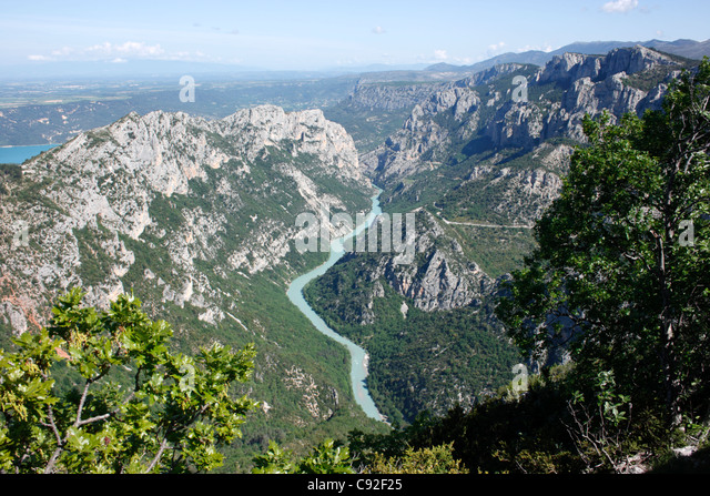 The Verdon Gorge is a beautiful river canyon which is a popular tourist destination. - Stock-Bilder