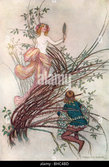 To Merciless Beauty, by Warwick Goble, from The Complete Poetical Works of Geoffrey Chaucer, 1912. - Stock Image