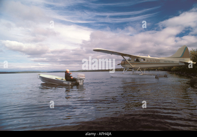 Alaska float plane fishing at Bristol Bay near Anchorage - Stock Image