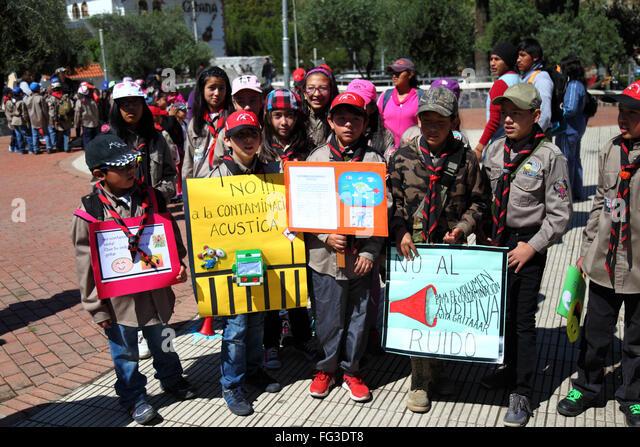 Schoolchildren protesting against noise pollution, La Paz, Bolivia - Stock Image