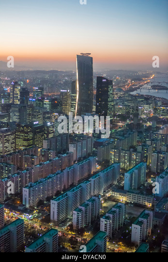 Korea Asia Seoul Yeouido aerial apartments architecture blocks center city colourful financial geometry international - Stock Image
