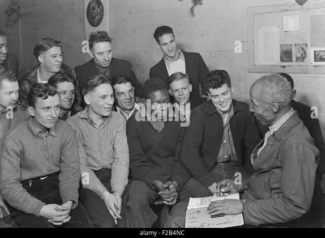 Unemployed men attending a meeting of the Workers' Alliance Council in 1936. Most are young second generation - Stock-Bilder