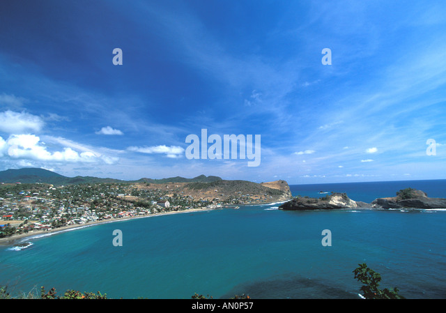 aerial above St Lucia West Indies Caribbean Coastline fishing town of Dennery saint lucia - Stock Image