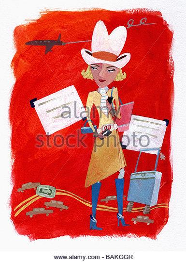Cowgirl Traveling - Stock-Bilder