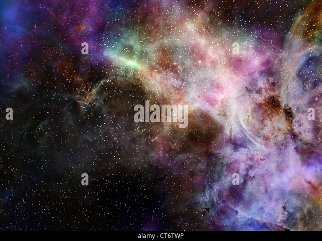 deep outer space gas cloud nebula galaxy and stars - Stock Image