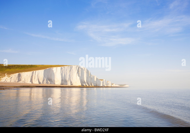 Sunset at Seven Sisters; East Sussex; England, Great Britain - Stock-Bilder