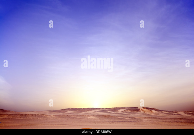 sunrise in desert landscape background - Stock Image