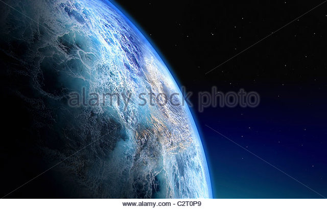 Globe covered in water - Stock Image