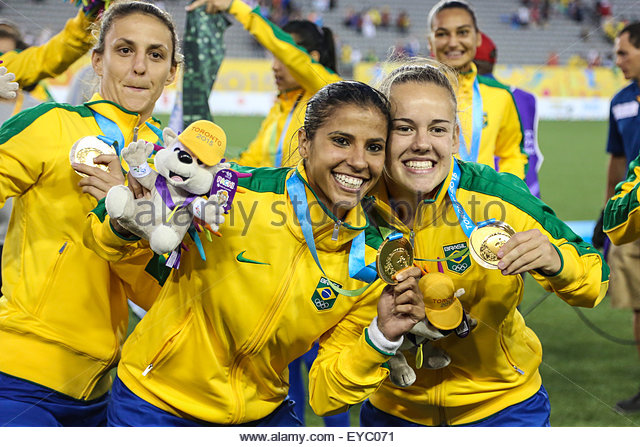Hamilton, Canada. 25th July, 2015. Players of Brazil celebrates gold medal after winning 4-0 in Colombia in the - Stock-Bilder