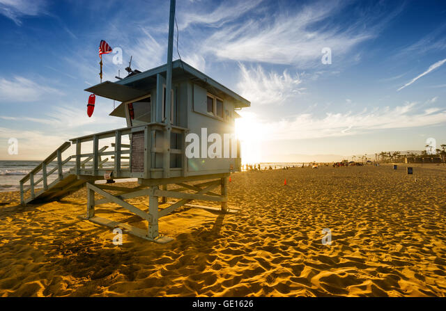 Venice beach at sunset in Los Angeles, USA - Stock Image