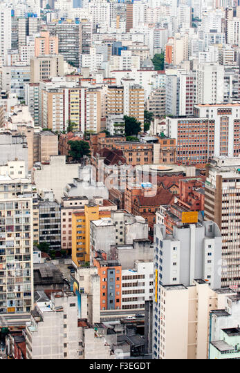 A view of skyscraper apartments blocks in central Sao Paulo - Stock Image