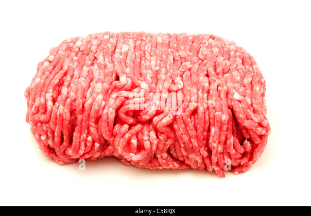 Raw beef mince on a white background - Stock Image