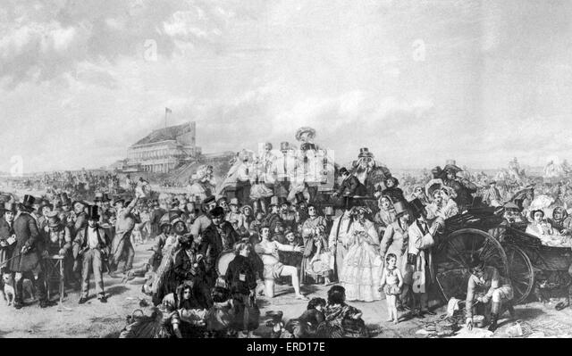 Horseracing Illustration- historical Derby scene, circa 1850. - Stock Image
