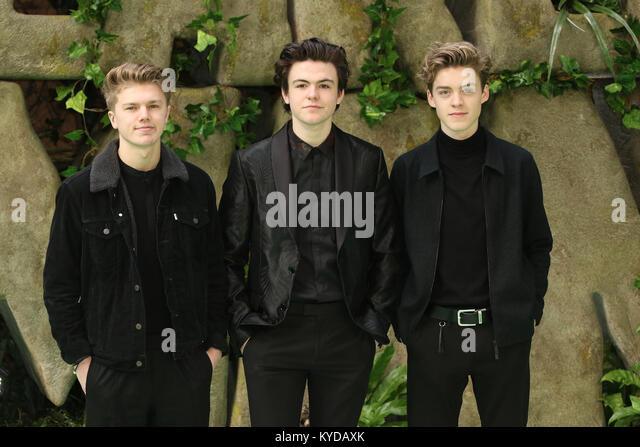 London, UK. 14th January, 2018. New Hope Club, Reece Bibby, Blake Richardson, George Smith, Early Man - World premiere, - Stock Image