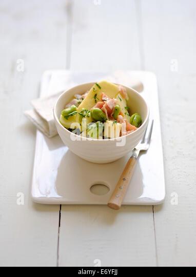 Apple,broad bean,raw ham and Tomme de brebis salad - Stock Image