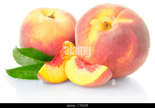 Peach fruit with leaves - Stock Image