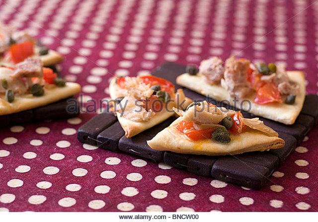Capers tuna pizzettes - Stock Image