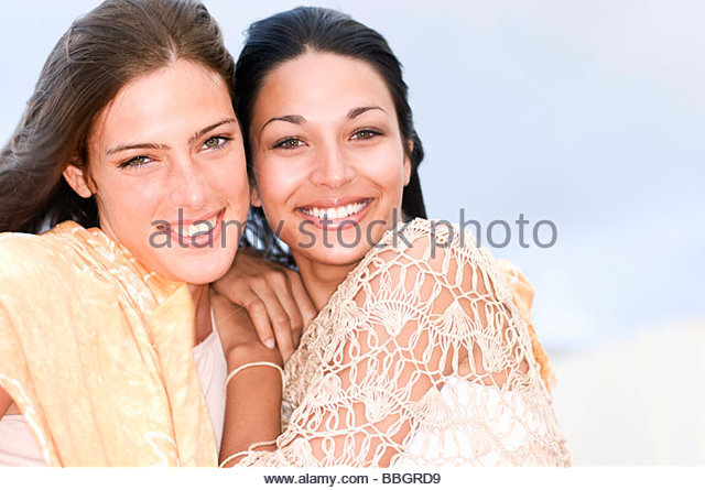 Portrait two women smiling, close-up, Havana, Cuba - Stock Image