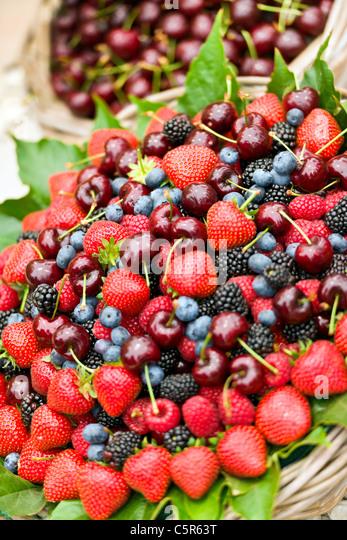 Basket of fruit - Stock Image