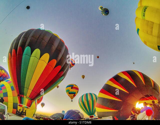 Hot air balloon festival Leon in Mexico day time - Stock Image