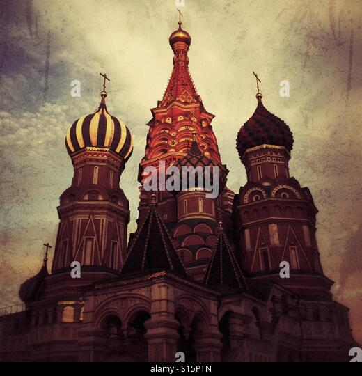 St. Basil Cathedral on Red Square, Moscow, Russian Federation. - Stock-Bilder