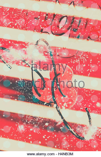 Polka dot comical art on a ignited plastic explosive bomb ready to boom. Abstract dynamite charge - Stock Image