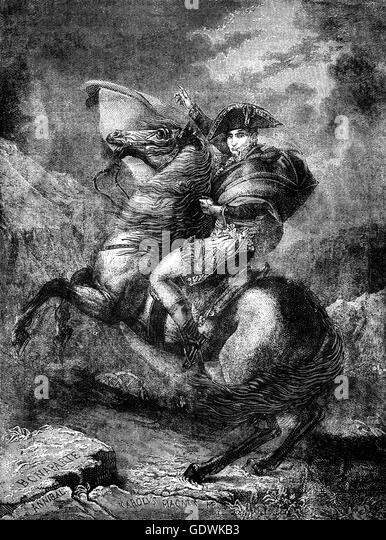 Napoleon Crossing the Alps,  a strongly idealized view of Napoleon and his army crossingthe Alps through the Great - Stock Image