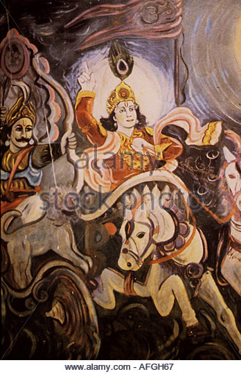 Indian folk art depicting Lord Krishna with Arjuna riding in the chariot - Stock Image