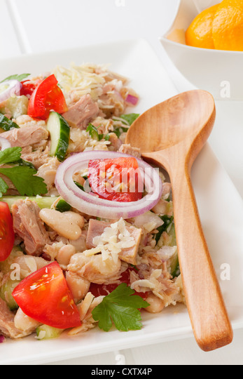 Tuscan bean and tuna salad with tomatoes,cucumber, parmesan and lemon vinaigrette, on a square white platter. - Stock Image