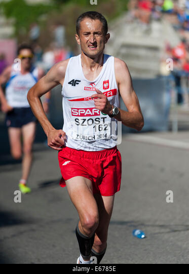 Zurich, Switzerland. 17th Aug, 2014. Henryk Szost (POL) on the steep and difficult track of the men's marathon - Stock Image