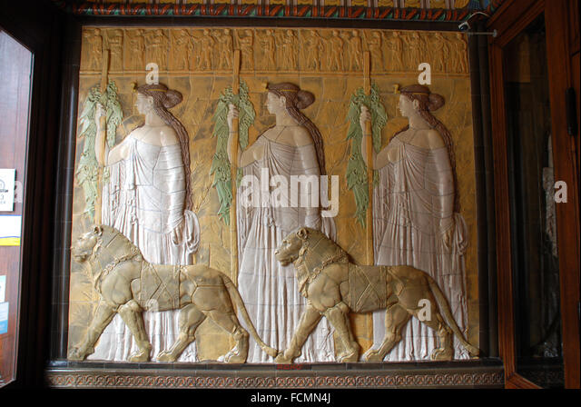Ceramic tiles art nouveau style stock photos ceramic for Art deco tile mural