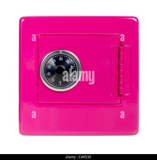 Pink safe bank - Stock Image