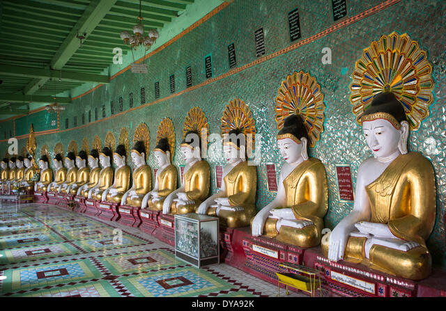 Mandalay Myanmar Burma Asia Sagaing architecture Buddha Buddhism buddhas colourful green many pagoda golden religion - Stock-Bilder