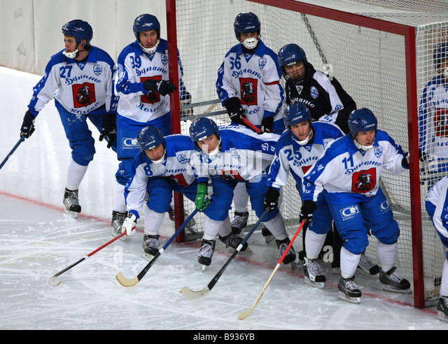 Risky situation near Dinamo s goal in the decisive match in the Krylatskoye Stadium between Edsbyn Sweden and Dinamo - Stock Image