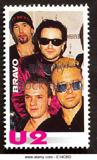 U2  on a vintage postage stamp by Bravo from early 1980s - Stock Image