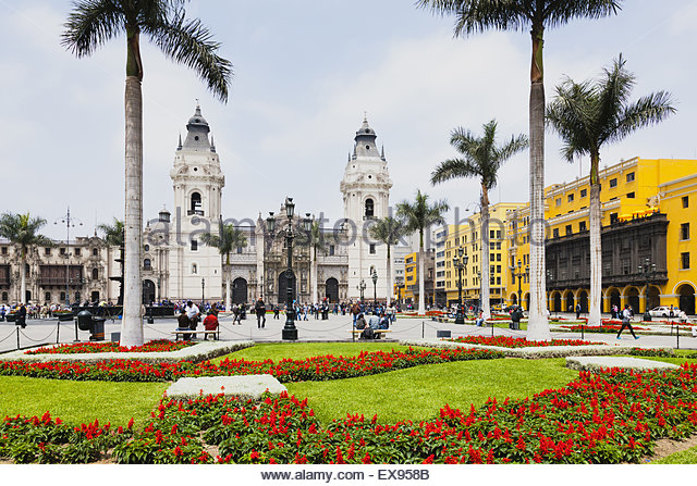 Peru, Lima, Plaza-de-Armas, Formal garden of Cathedral of Lima and palm trees. - Stock Image